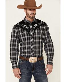 Roper Men's Black Plaid Fancy Applique Long Sleeve Snap Western Shirt , Black, hi-res