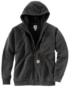 Carhartt Men's Heather Grey Rain Defender Thermal Lined Zip Hooded Work Sweatshirt - Tall, Heather Grey, hi-res