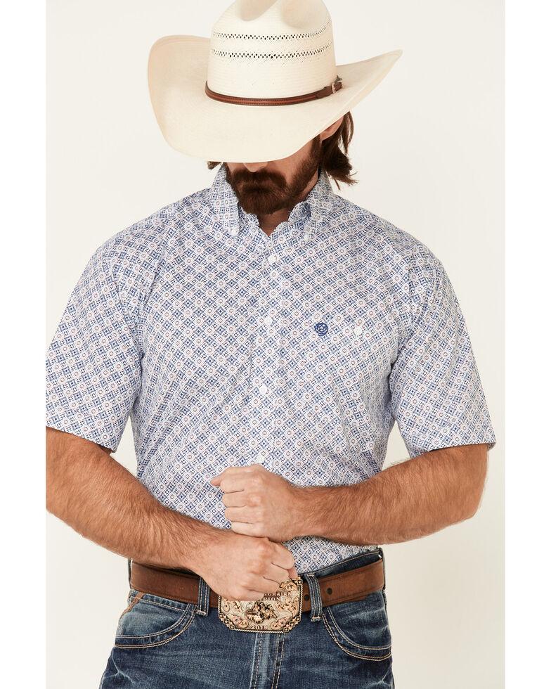 George Strait By Wrangler Men's White Medallion Geo Print Short Sleeve Button-Down Western Shirt - Tall , White, hi-res