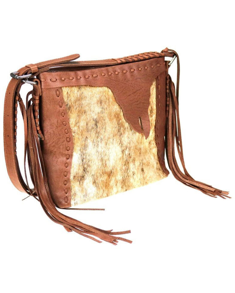 Delila Women's Brown Leather Hair On Hide Crossbody, Brown, hi-res