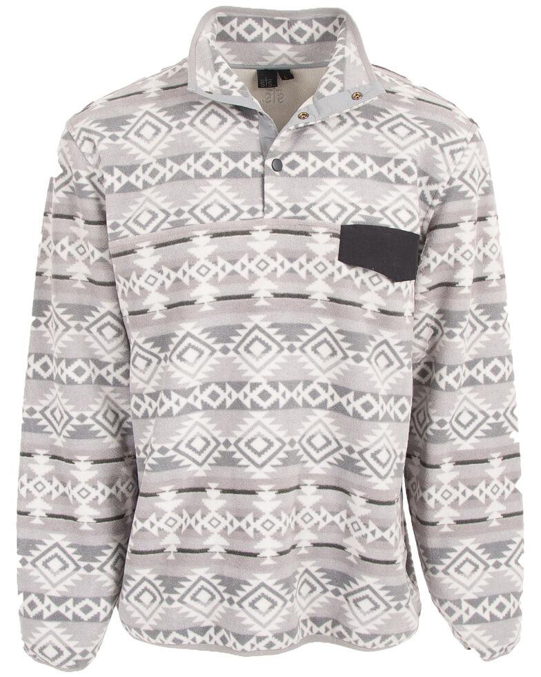 STS Ranchwear Men's Grey Unisex Aztec Fleece Sweatshirt , Grey, hi-res