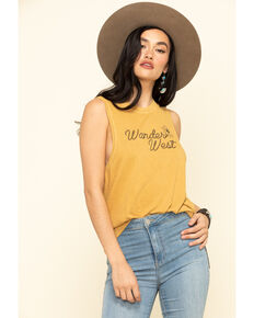 Wondery Women's Wander West Muscle Tank Top, Mustard, hi-res