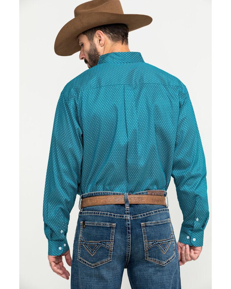 Cinch Men's Teal Small Geo Print Long Sleeve Western Shirt , Teal, hi-res