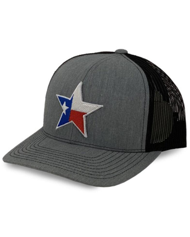 Oil Field Hats Men's Charcoal Texas Star Patch Mesh Ball Cap , Grey, hi-res