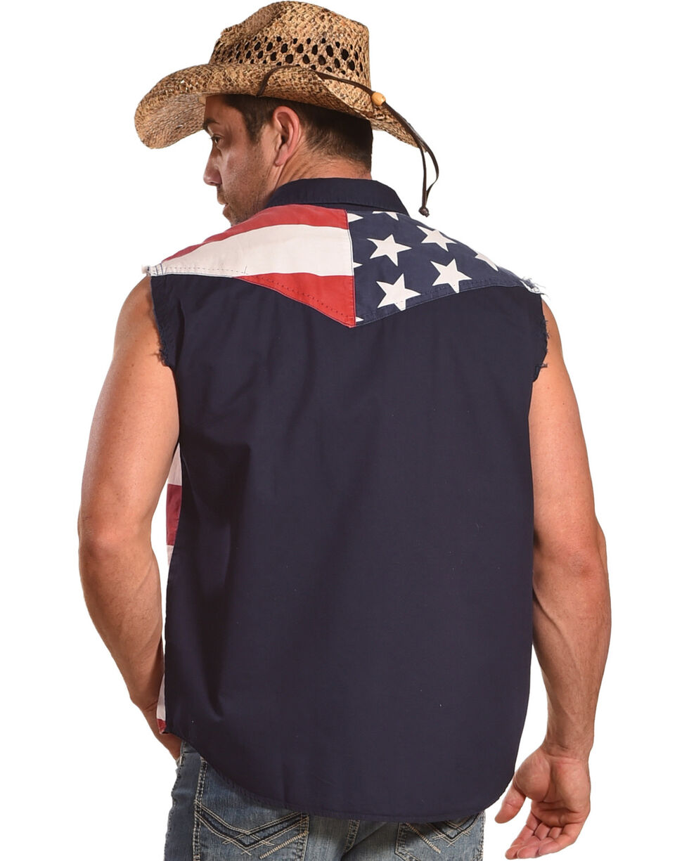 Cody James Men's American Flag Sleeveless Western Shirt, Red/white/blue, hi-res