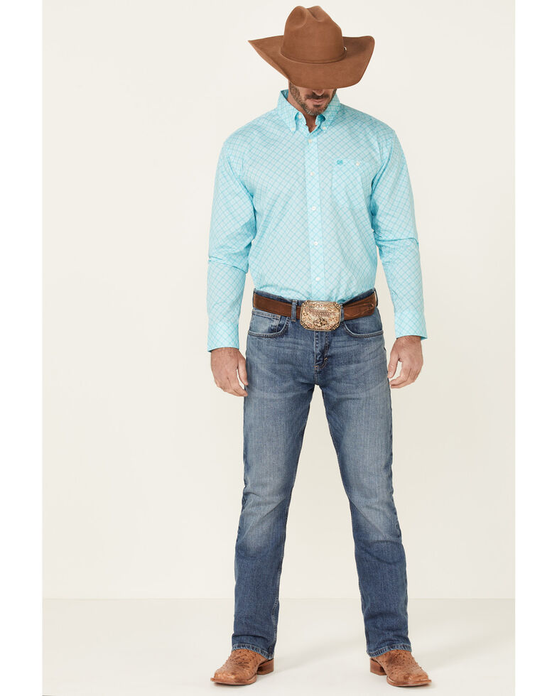 Wrangler Men's Classic Turquoise Geo Print Long Sleeve Button-Down Western Shirt , Turquoise, hi-res