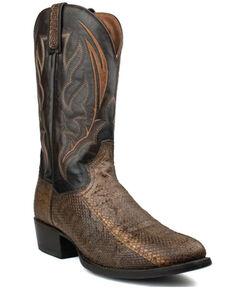 Dan Post Men's Exotic Snake Skin Western Boots - Round Toe, Brown, hi-res