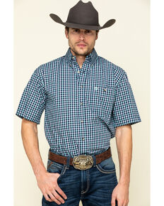George Strait By Wrangler Men's Turquoise Small Plaid Short Sleeve Western Shirt , Turquoise, hi-res