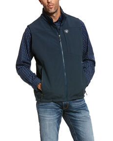 Ariat Men's Indigo Logo 2.0 Softshell Zip-Up Vest, Indigo, hi-res