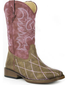 Roper Girls' Pink Cross Cut Cowgirl Boots - Square Toe , Brown, hi-res