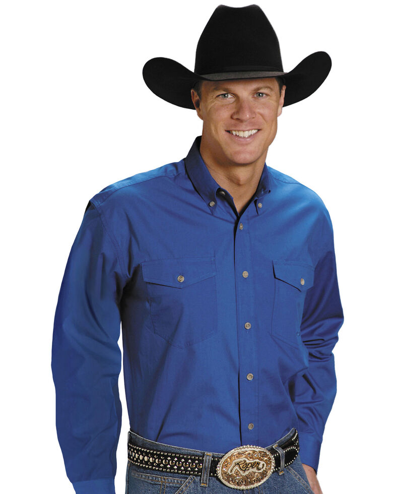 Roper Men's Solid Poplin Long Sleeve Western Shirt - Big & Tall, Blue, hi-res