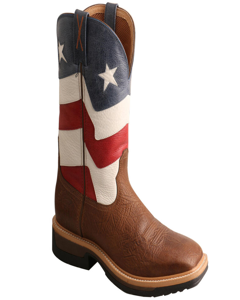 Twisted X Men's Flag VFW Lite Western Work Boots - Square Toe, Brown, hi-res