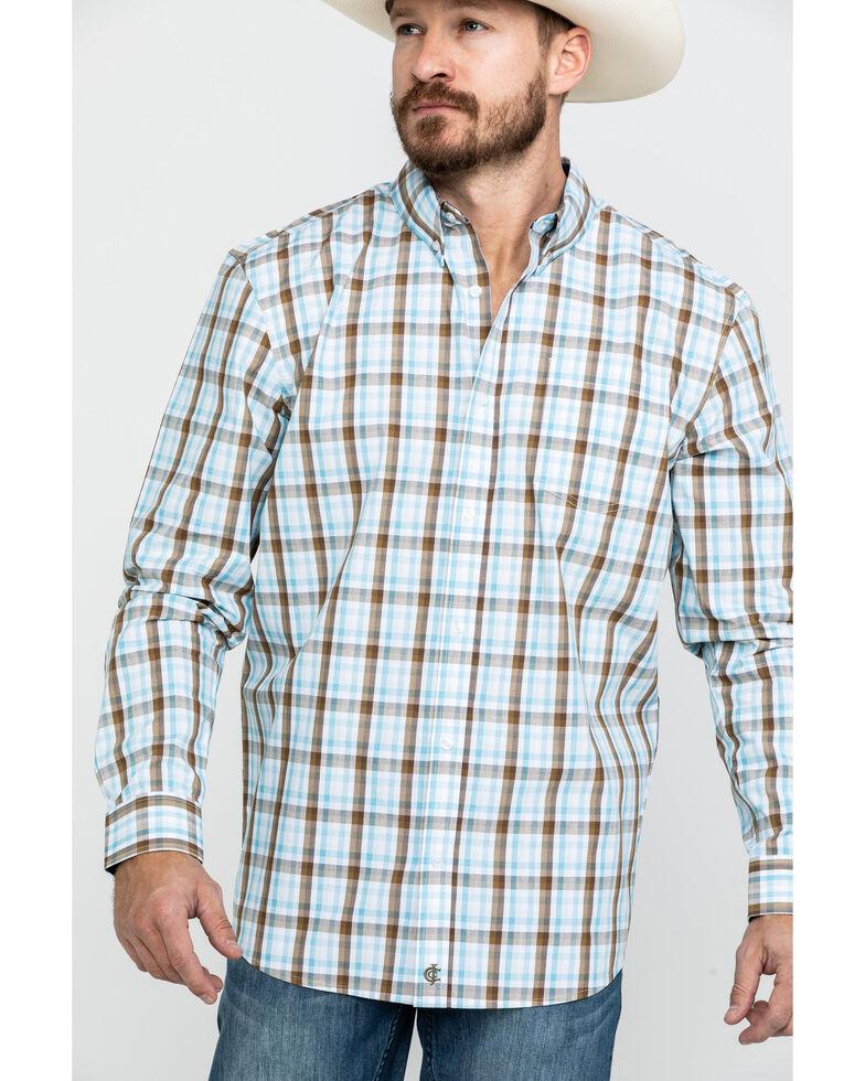 Cody James Core Men's Mountain Rain Med Plaid Long Sleeve Western Shirt , Light Blue, hi-res