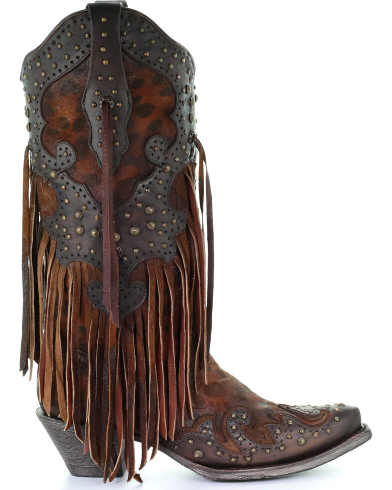 Corral Women's Leopard Stud & Fringe Cowgirl Boots - Snip Toe, Honey, hi-res