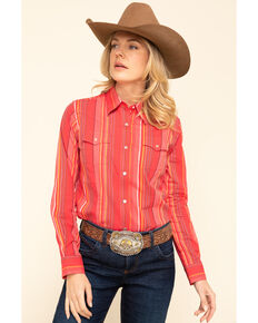 Wrangler Women's Rose Tonal Serape Long Sleeve Western Shirt, Pink, hi-res