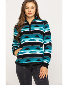 Outback Trading Co. Women's Kate Henley Aztec Fleece Jacket, Turquoise, hi-res