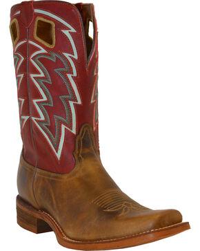 Nocona Men's Zig Zag Underlay Cowboy Boots - Square Toe, Tan, hi-res