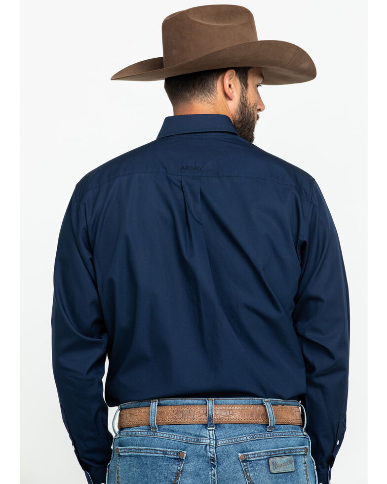 Ariat Men's Navy Wrinkle Free Button Long Sleeve Western Shirt, Navy, hi-res