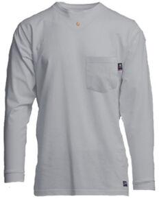 Lapco Men's FR Solid Grey Long Sleeve Work Pocket T-Shirt , Grey, hi-res