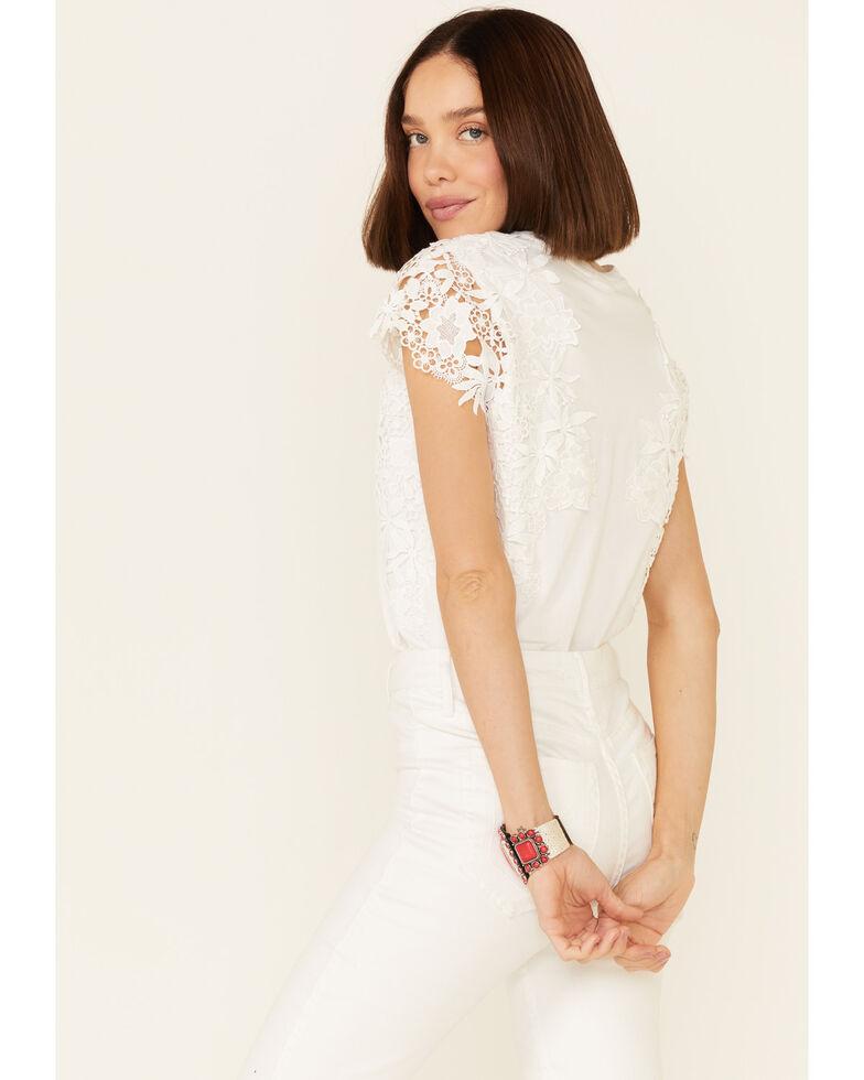 Ariat Women's White Reflect Applique Lace Short Sleeve Top, White, hi-res
