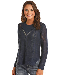 Rock & Roll Cowgirl Women's Sequin Neck Sweater, Navy, hi-res