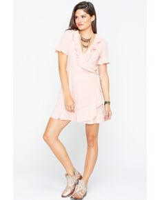 Sadie and Sage Women's Meredith Ruffle Dress , Peach, hi-res