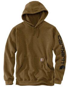 Carhartt Men's Mid Weight Hooded Logo Work Sweatshirt - Tall , Brown, hi-res
