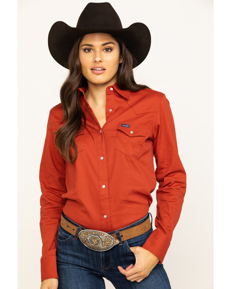 Wrangler Women's Rust Solid Snap Long Sleeve Western Shirt , Rust Copper, hi-res
