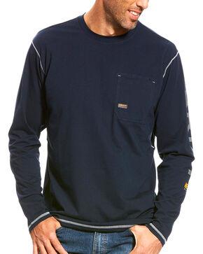 Ariat Men's Rebar Navy Long Sleeve Logo Crew, Navy, hi-res