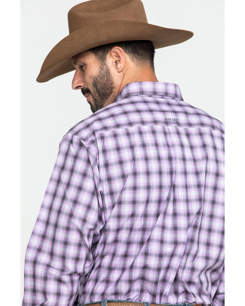 Ariat Men's Frankfort Small Plaid Long Sleeve Western Shirt - Big , Purple, hi-res