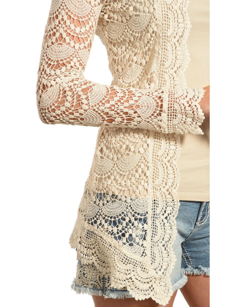 Young Essence Women's Long Sleeve Lace Cardigan , Beige/khaki, hi-res