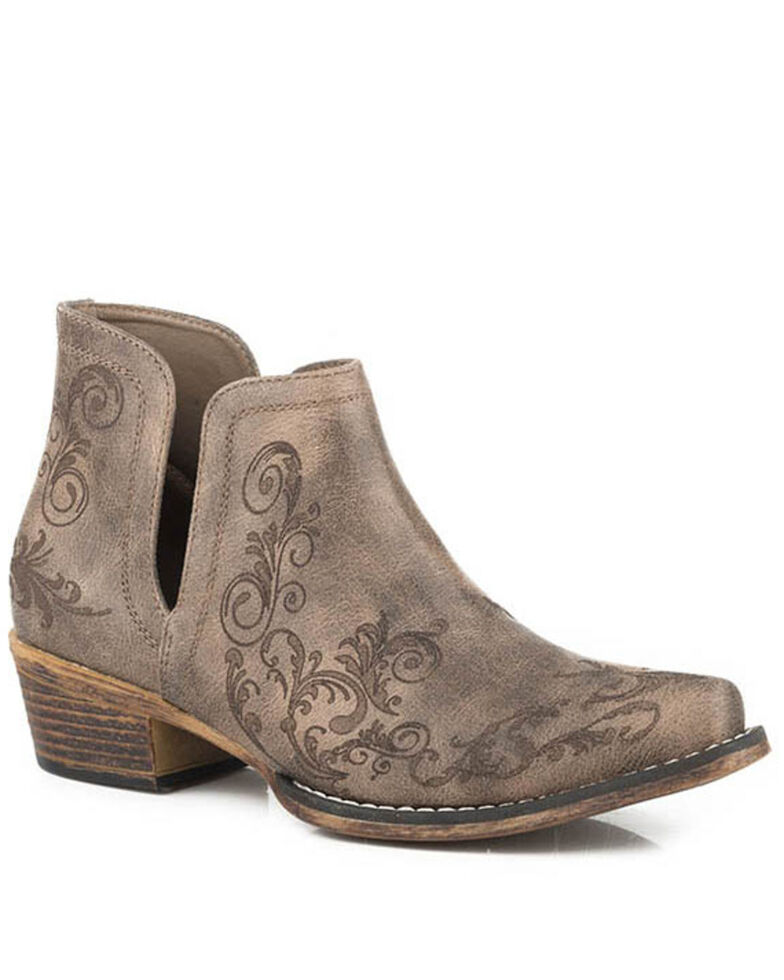 Roper Women's Ava Fashion Booties - Snip Toe, Brown, hi-res