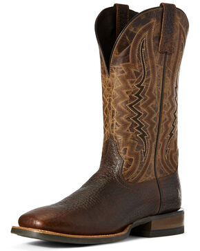 Ariat Men's Relentless Whiskey Western Boots - Wide Square Toe, Wheat, hi-res
