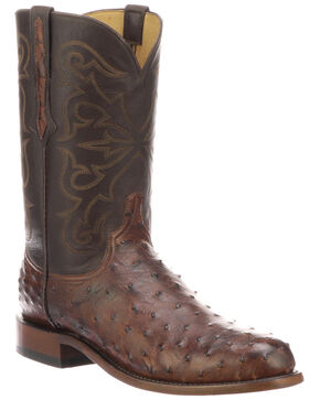 Lucchese Men's Hudson Exotic Western Boots - Medium Toe, Chocolate, hi-res