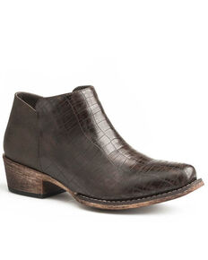 Roper Women's Brown Sofia Faux Caiman Fashion Booties - Snip Toe, Brown, hi-res