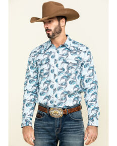 Cody James Men's Lovelace Large Paisley Print Long Sleeve Western Shirt , White, hi-res