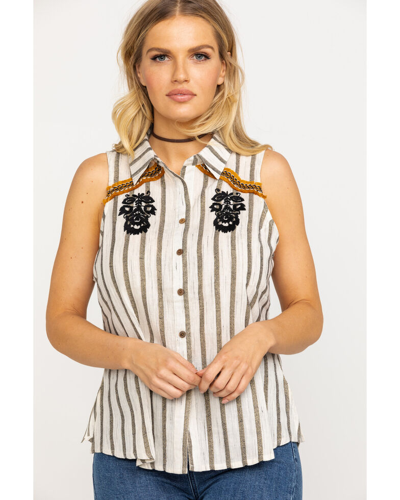 Shyanne Women's Ivory Striped Floral Embroidered Button Top, Ivory, hi-res