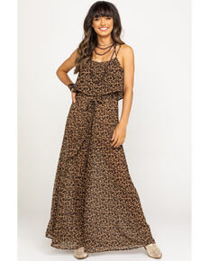 Flying Tomato Women's Leopard Flounce Top Wide Leg Jumpsuit, Leopard, hi-res