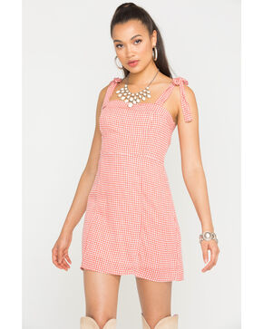 Sage the Label Women's Peach Positano Gingham Dress , Peach, hi-res