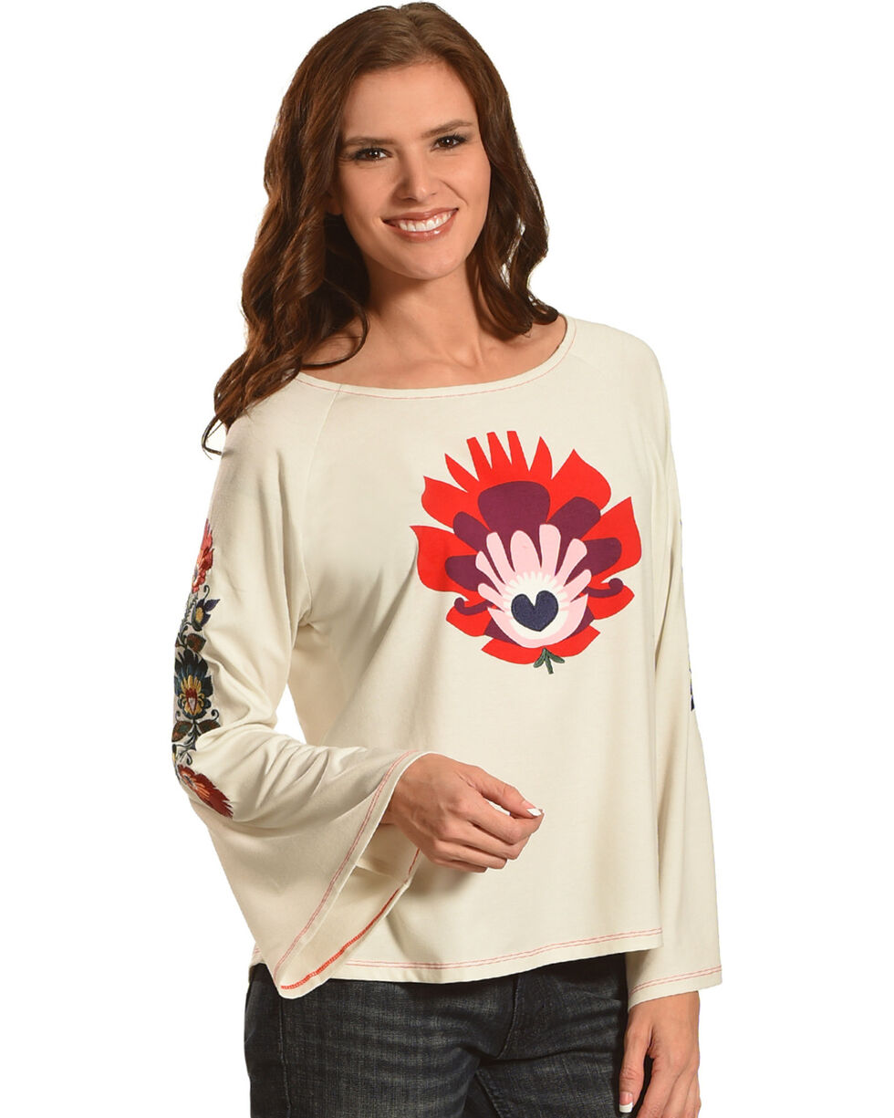 Angel Premium Women's Frida Long Sleeve Embroidered Top, Cream, hi-res