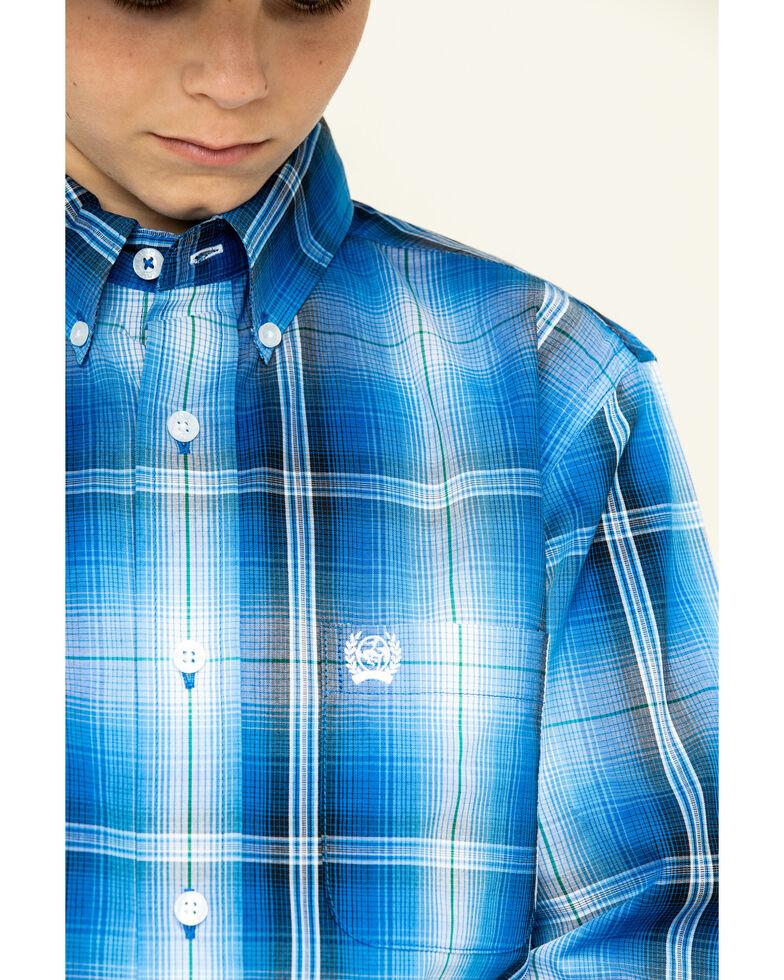 Cinch Boys' Royal Blue Plaid Long Sleeve Western Shirt , Blue, hi-res