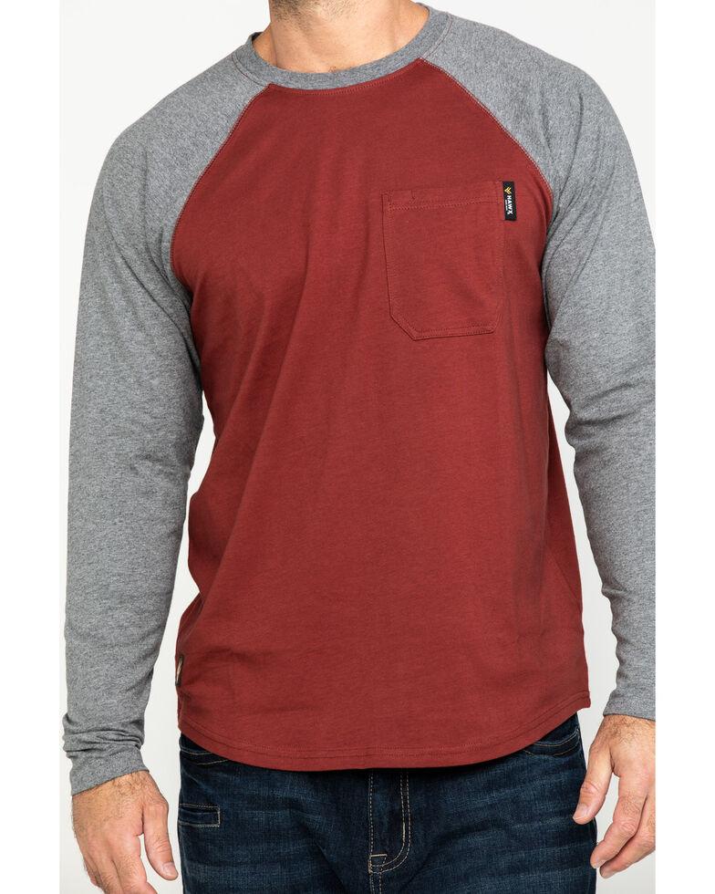 Hawx Men's Red Baseball Raglan Crew Long Sleeve Work Shirt, Charcoal, hi-res