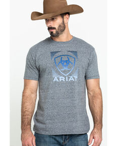 Ariat Men's Grey Linear Lock Up Graphic T-Shirt , Grey, hi-res