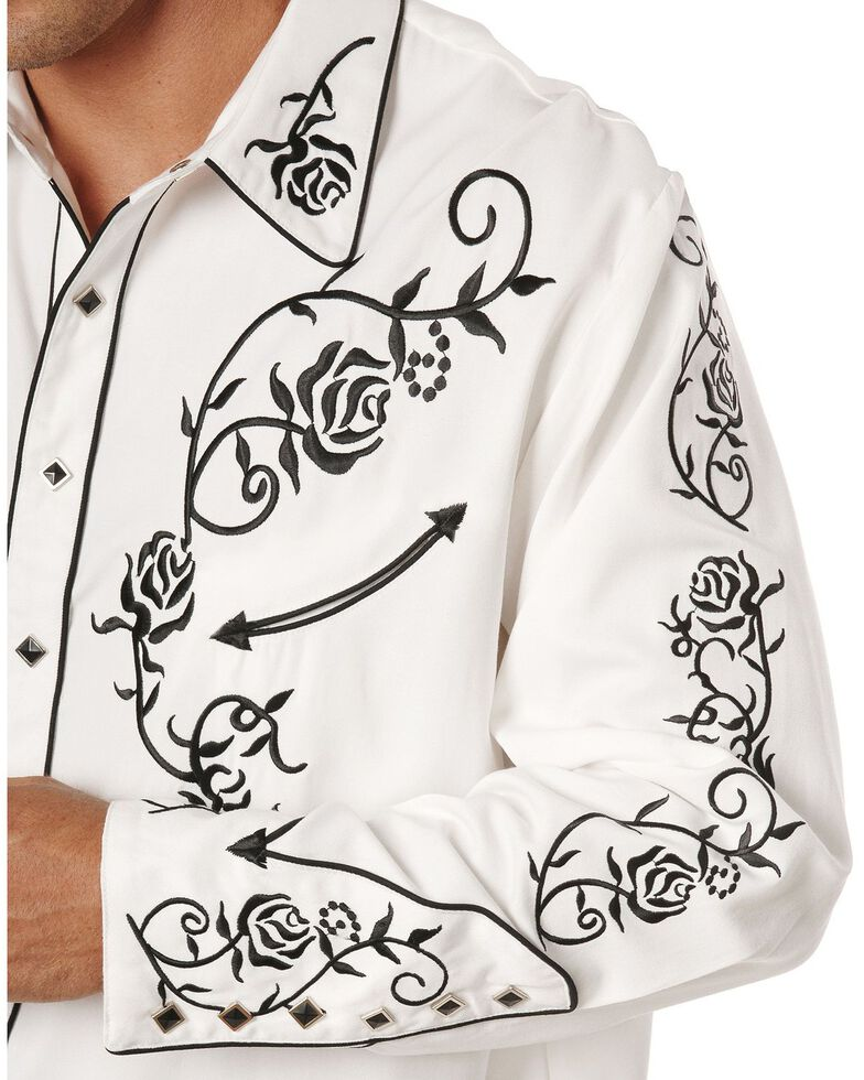 Scully Men's Floral Embroidered Vintage Long Sleeve Western Shirt, White, hi-res