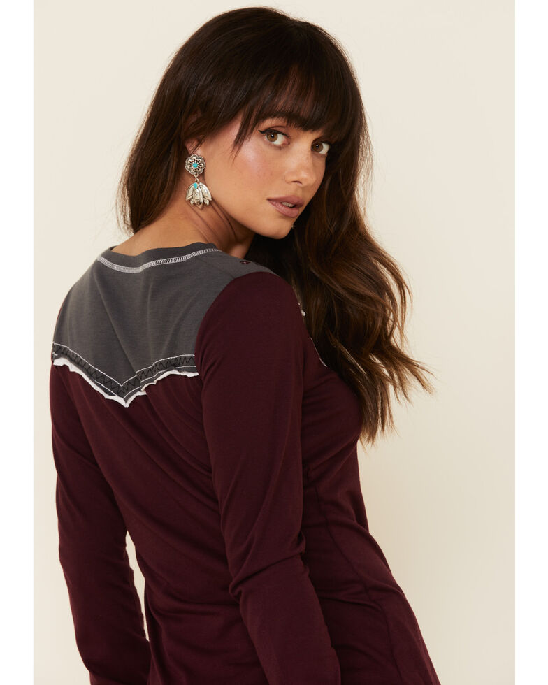 Panhandle Women's Retro Jersey Embroidered Long Sleeve Tee , Maroon, hi-res