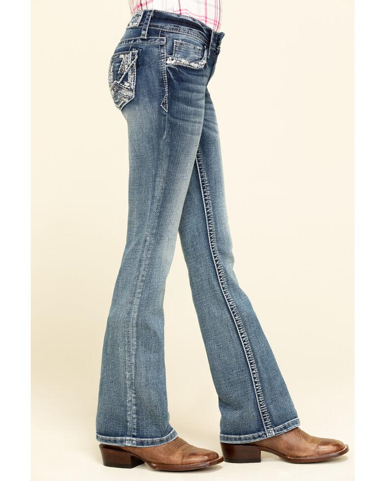 Grace in LA Little Girls' Light Wash Scattered Lines Bootcut Jeans, Blue, hi-res