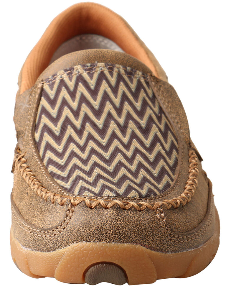 Twisted X Women's Chevron Driving Shoes - Moc Toe, Brown, hi-res