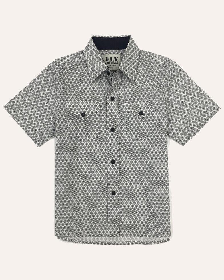 Ely Cattleman Boys' Assorted White Geo Print Short Sleeve Western Shirt , White, hi-res