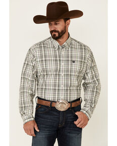 Cinch Men's White Small Plaid Long Sleeve Button-Down Western Shirt , White, hi-res