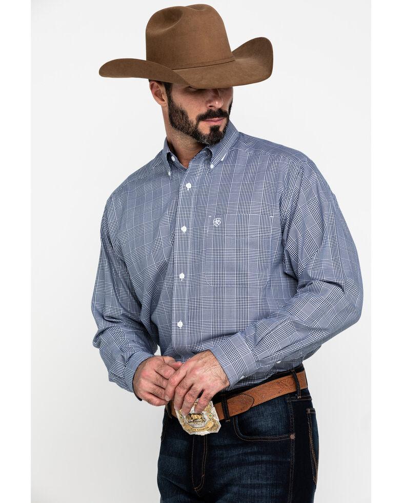Ariat Men's Wrinkle Free Indie Gingham Check Long Sleeve Western Shirt - Tall , Blue, hi-res